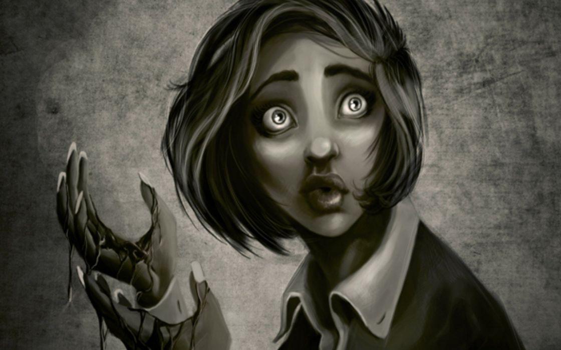 fantasy horror girl face female woman blood wallpaper