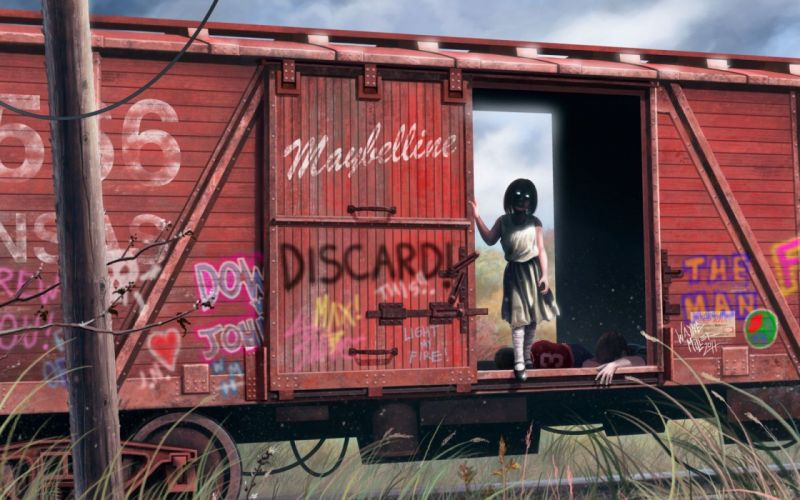 horror death girl creepy ghosts possession boxcar rusted metal wallpaper