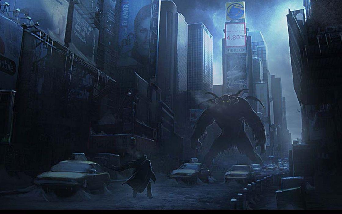 horror sci-fi city monster fantasy wallpaper