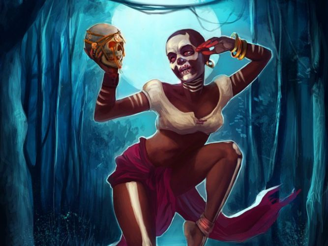 horror voodoo witch fantasy skull moon swamp wallpaper