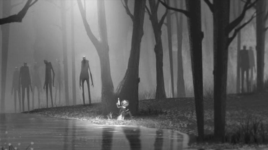 sci-fi forest child kid zombies chase horror alien dark fantasy wallpaper