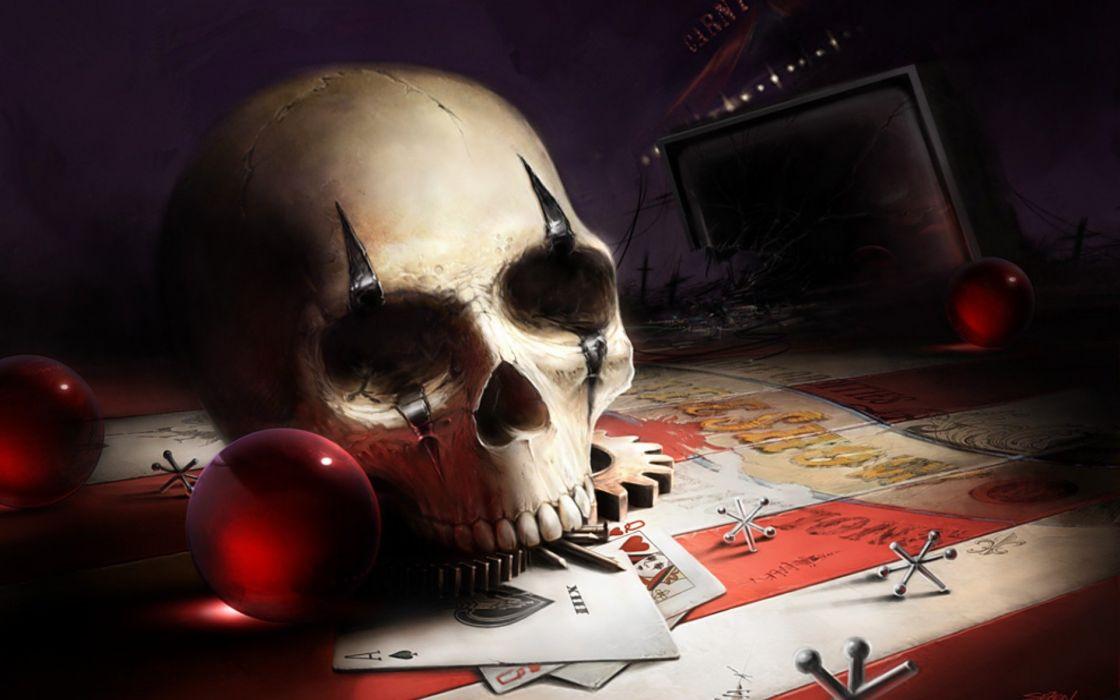 skull carnival circus freaks still life horror dark art wallpaper