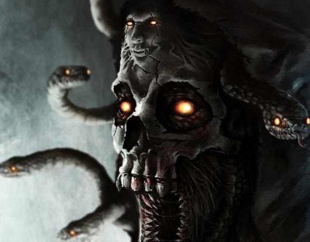 horror medusa snake mythology fantasy demon skull monster wallpaper