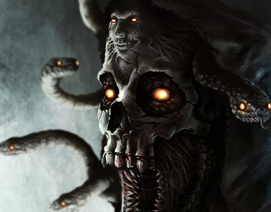 Horror medusa snake mythology fantasy demon skull monster - Devil skull wallpaper ...
