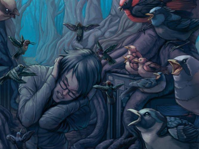 horror birds mood forest dark psychedelic wallpaper