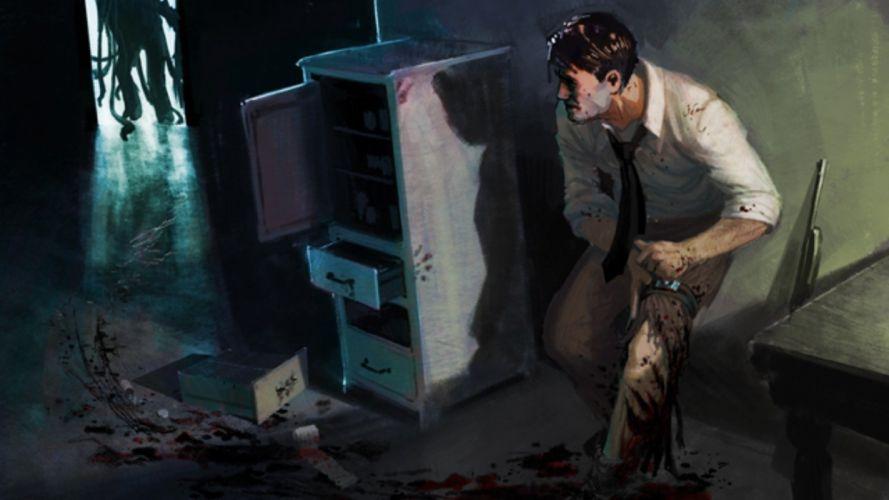 horror fear male gun monster vlood dark wallpaper