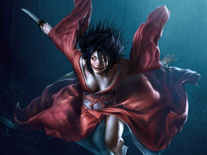 horror girl woman japanese kimono demon monster warrior dark wallpaper