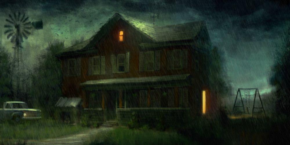 landscape horror house mist haunted halloween dark wallpaper