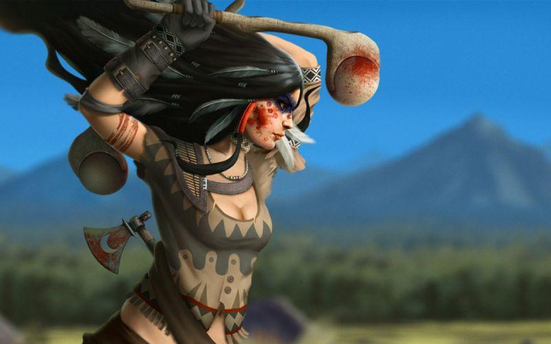 fantasy indian america girl woman western native american wallpaper
