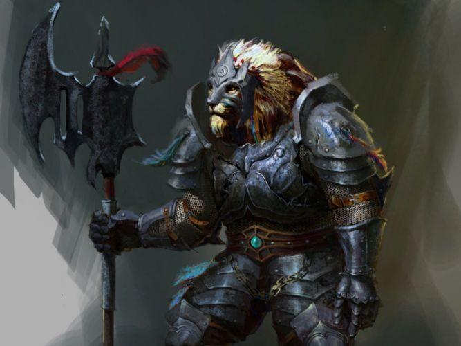 fantasy lion creature warrior wallpaper