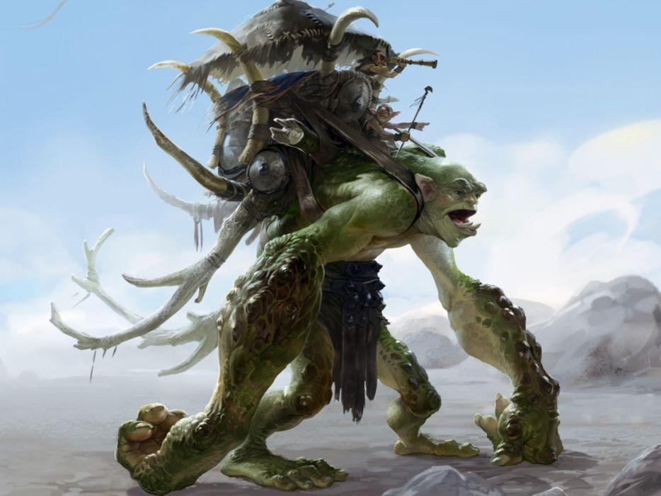 Fantasy Troll Rider Monster Creature Wallpaper 1920x1440