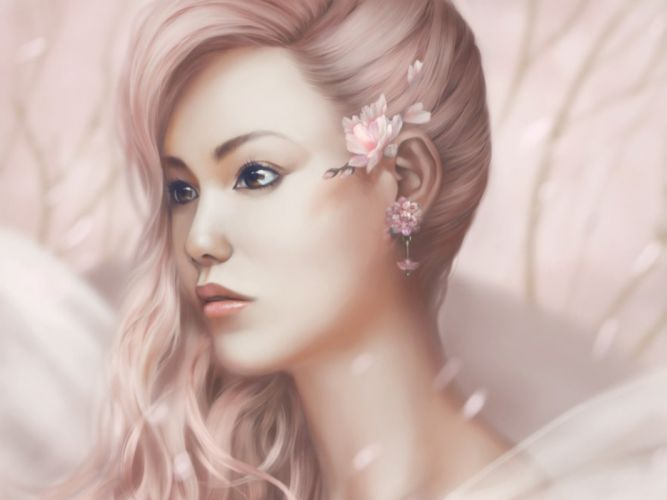 portrait girl flowers woman pink sakura asian wallpaper