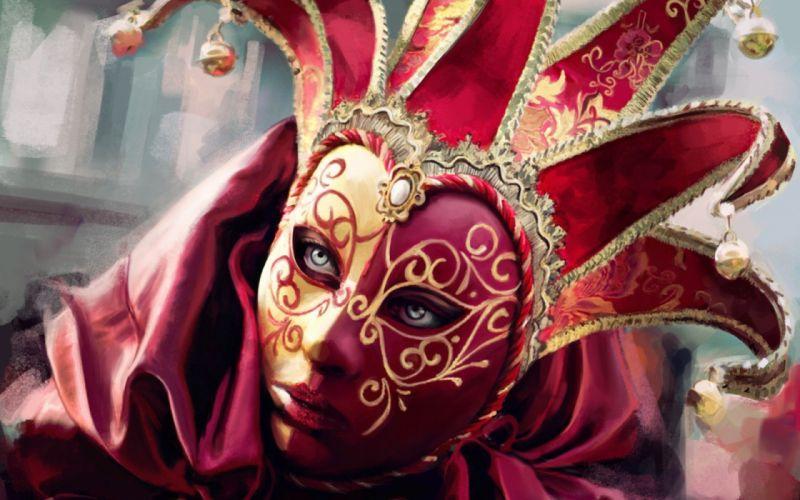portrait mask colorful festival fantasy artwork art painting wallpaper