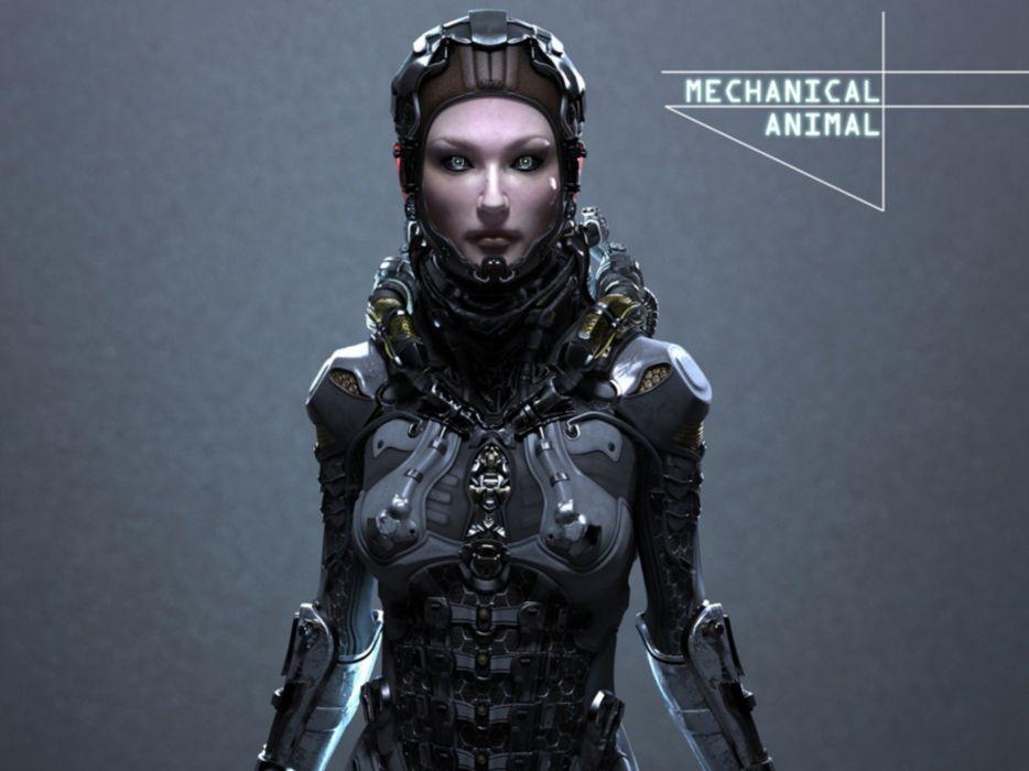 sci-fi cyberpunk girl cyborg wallpaper