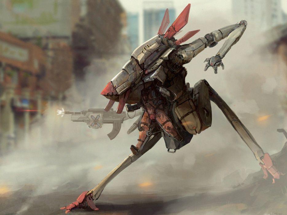sci-fi mech robot soldier mecha wallpaper