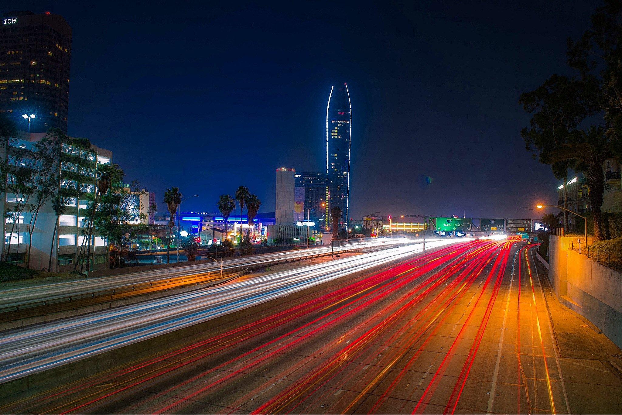 Картинки ночного города лос анджелеса