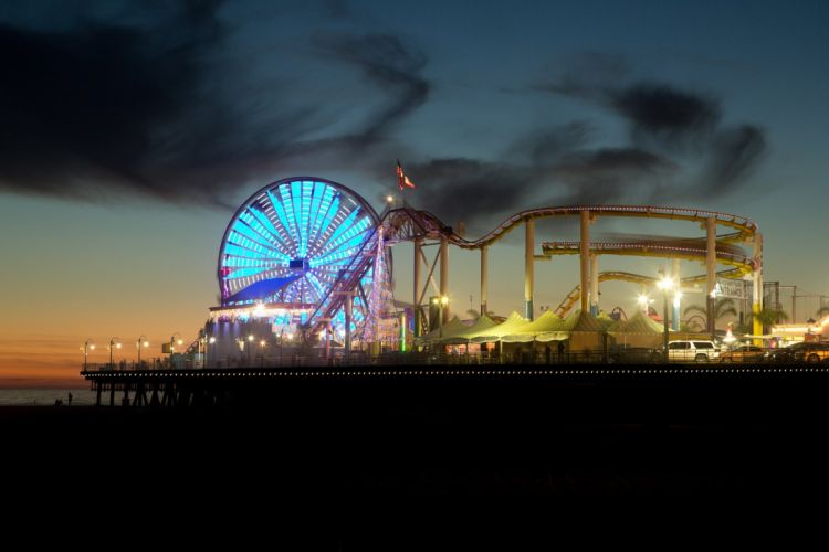 Los Angeles California Pacific Ocean beach architecture buildings cities Lights Night wallpaper