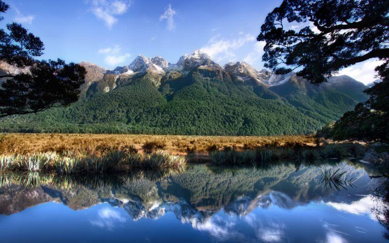 mountains wild nature rocks rivers lakes green wallpaper