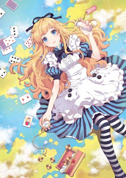 alice dress blonde long hair anime girl wallpaper