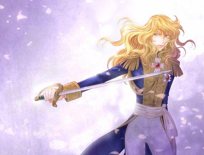 beautiful oscar girl sword blue blond hair wallpaper