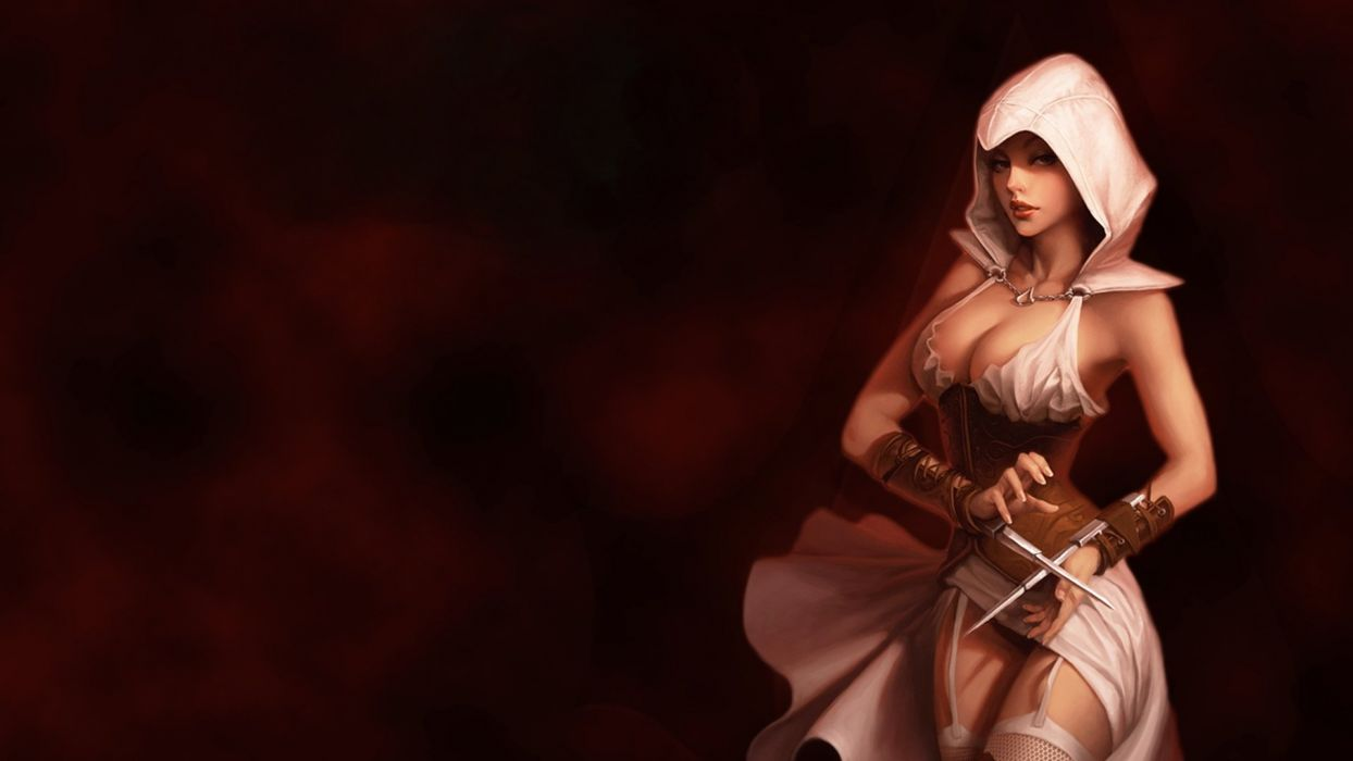 ASSASSIN GIRL - hood knife wrist stockings wallpaper