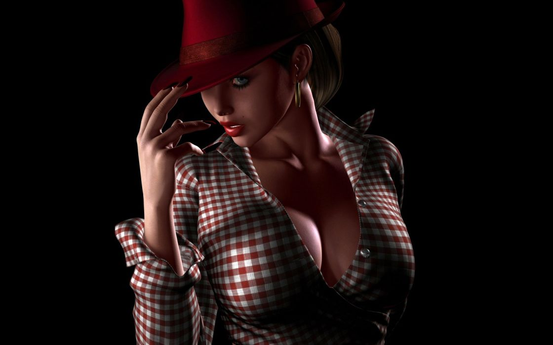 GIRL 3D - cap red Beauty wallpaper