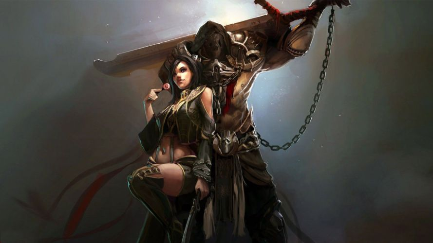 WARRIOR - girl prisoner sword steel chain wallpaper