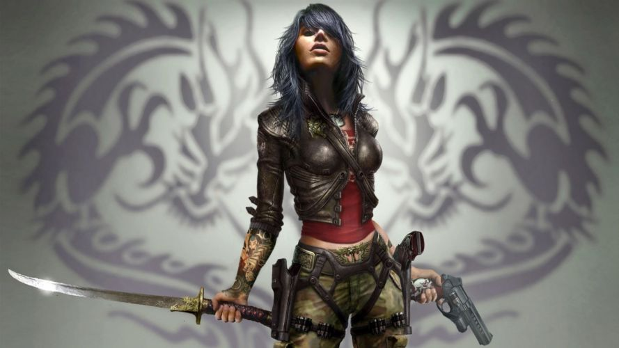 WORROR - Woman sword Weapon girl sexy wallpaper