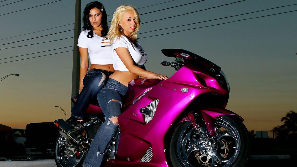 MOTORCYCLES - girls women pink jeans rag blonde brunette wallpaper