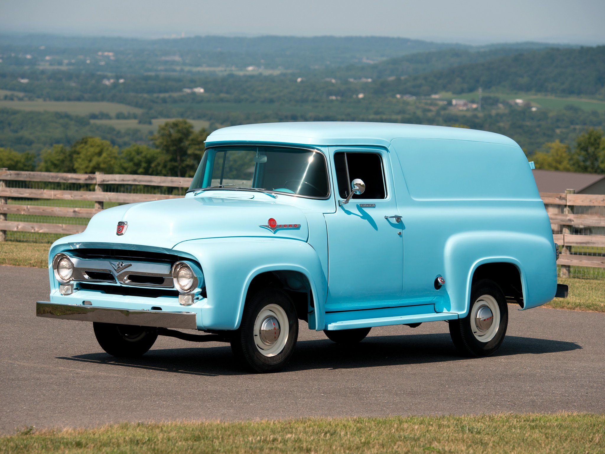 1956 Ford F 100 Custom Panel 82b Van Suv Retro Delivery 1948 Truck Stationwagon F100 Wallpaper 2048x1536 452016 Wallpaperup