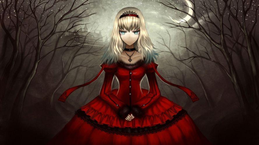 girl dress black gothic castle night darkness wallpaper