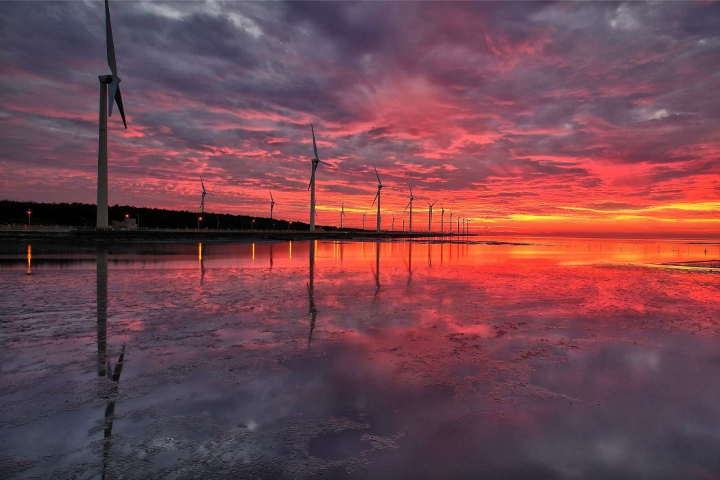 clouds sunset China Taiwan windmill mill reflection f wallpaper