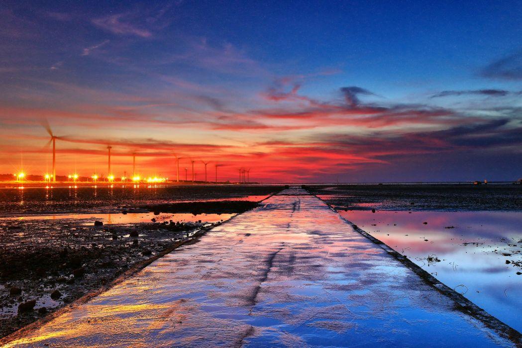 road water clouds sunset China Taiwan Changhua sea wallpaper