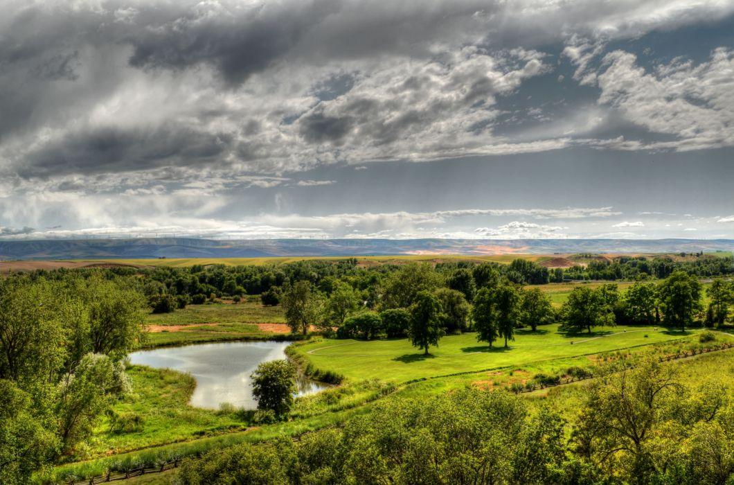 field pond trees sky landscape wallpaper