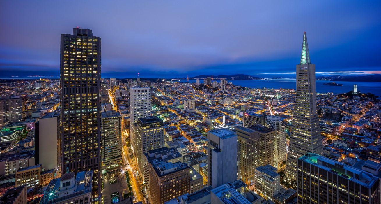 San Francisco California night city panorama buildings wallpaper