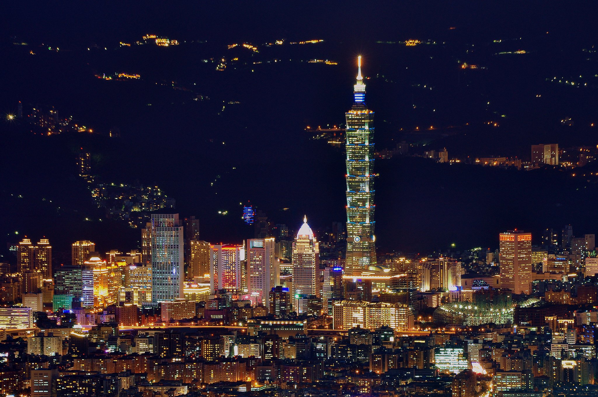 china taiwan taipei city tower night sky light lights wallpaper