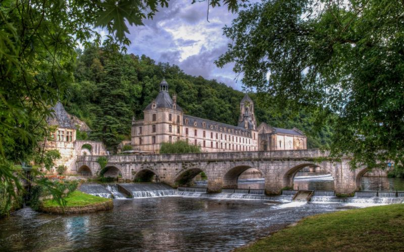 Dordogne River Brantome France the Dordogne River the abbey bridge river wallpaper