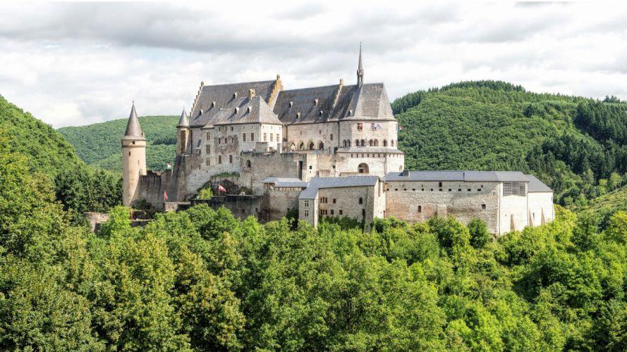 Vianden Castle Diekirch Luxembour forest wallpaper
