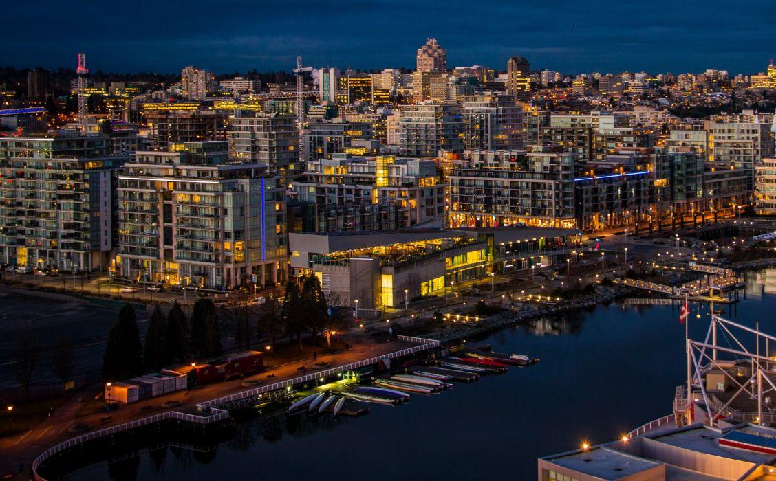 Canada River Marina Vancouver Night Cities wallpaper