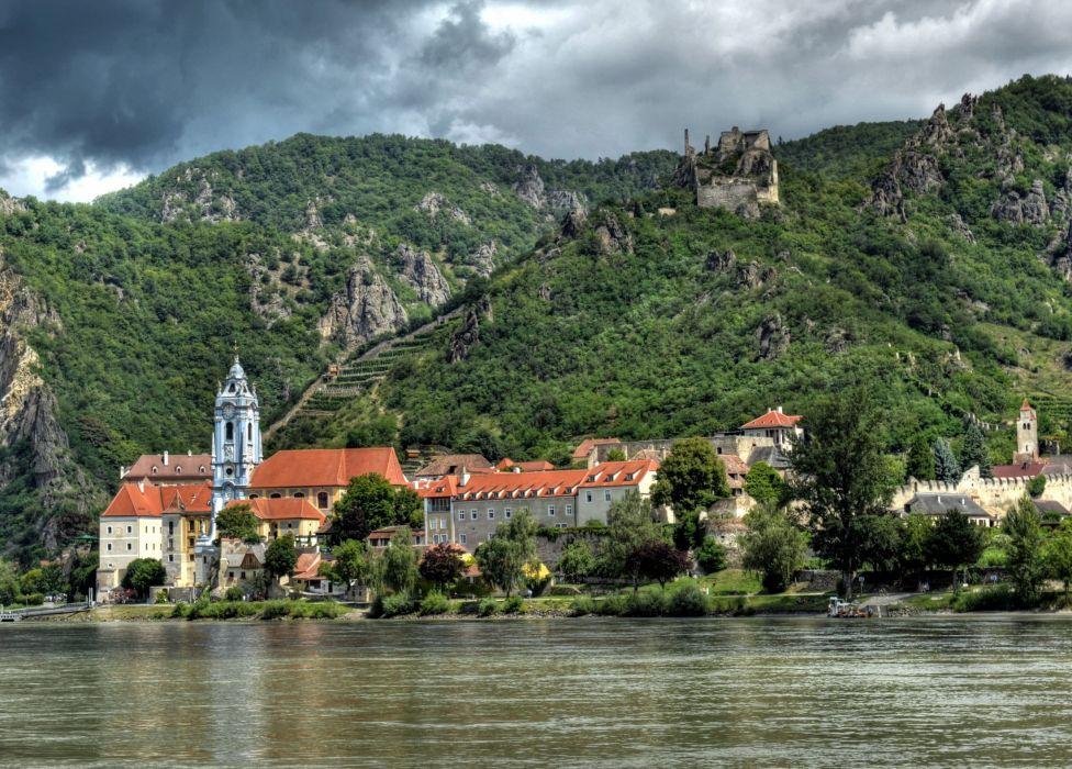 Austria House River Mountains Rossatz-Arnsdorf Cities wallpaper