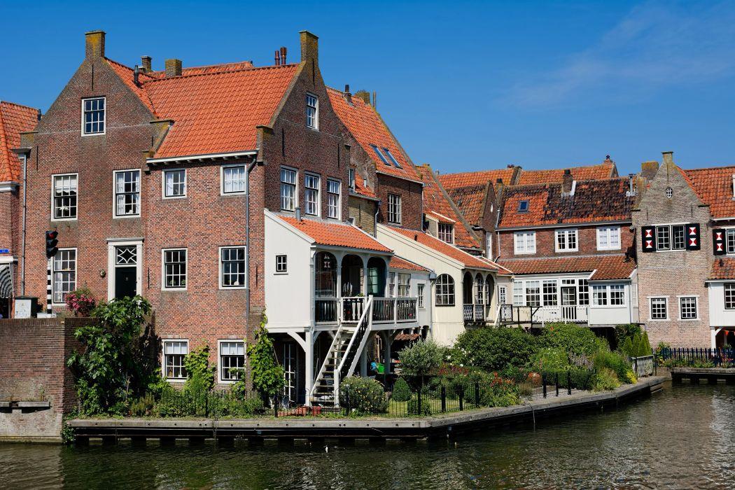 Netherlands House River Enkhuizen Cities wallpaper