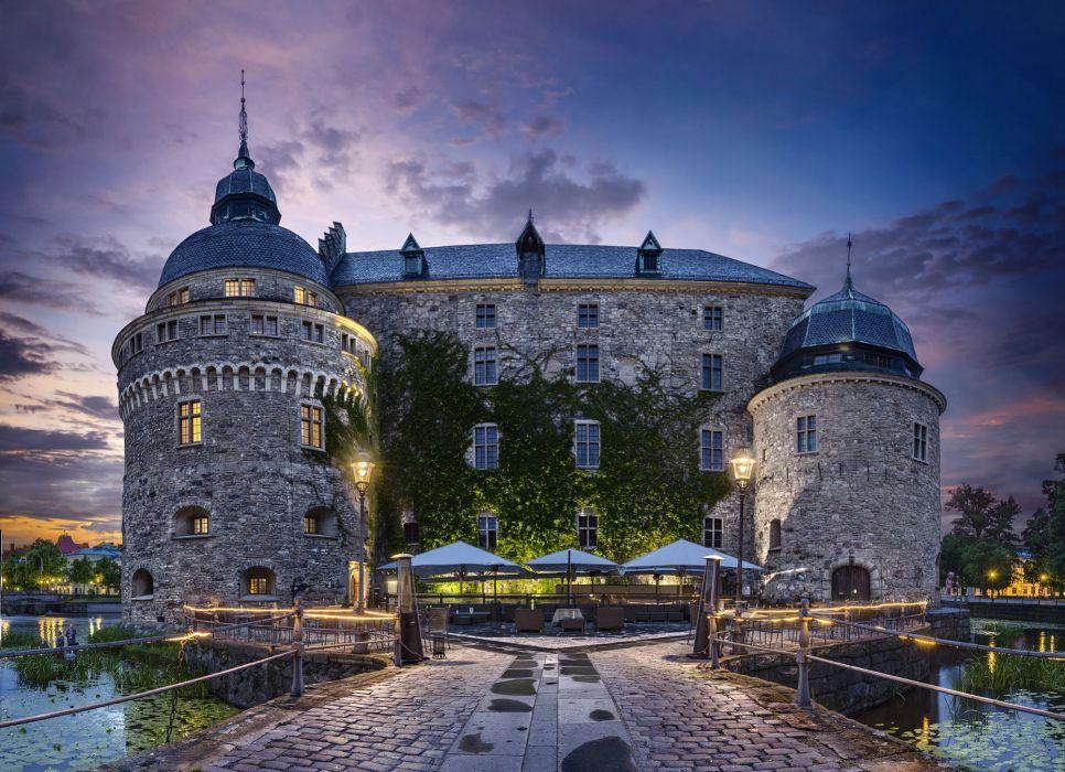 Sweden Castle Night Cities wallpaper