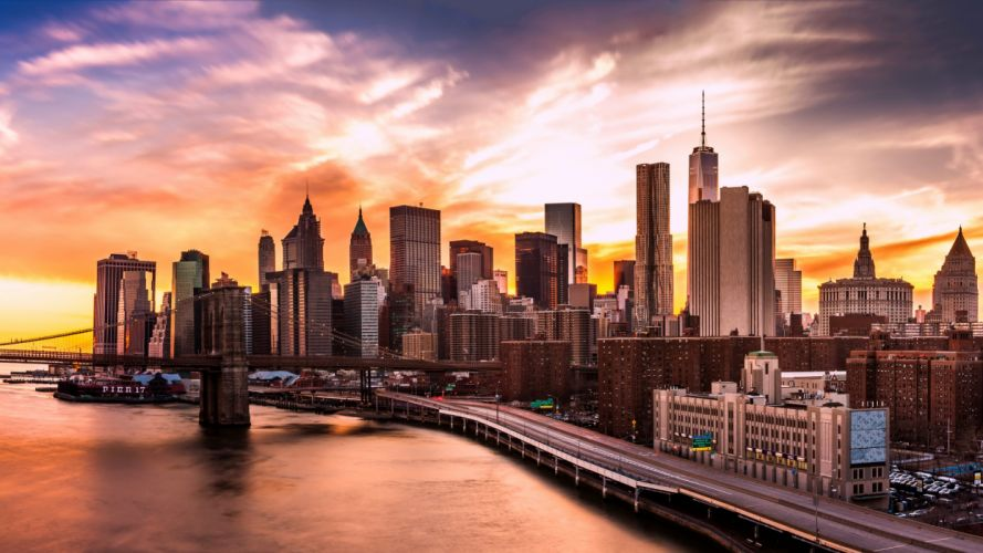 USA Skyscrapers Rivers Bridges Roads Sunrises and sunsets New York City Cities wallpaper