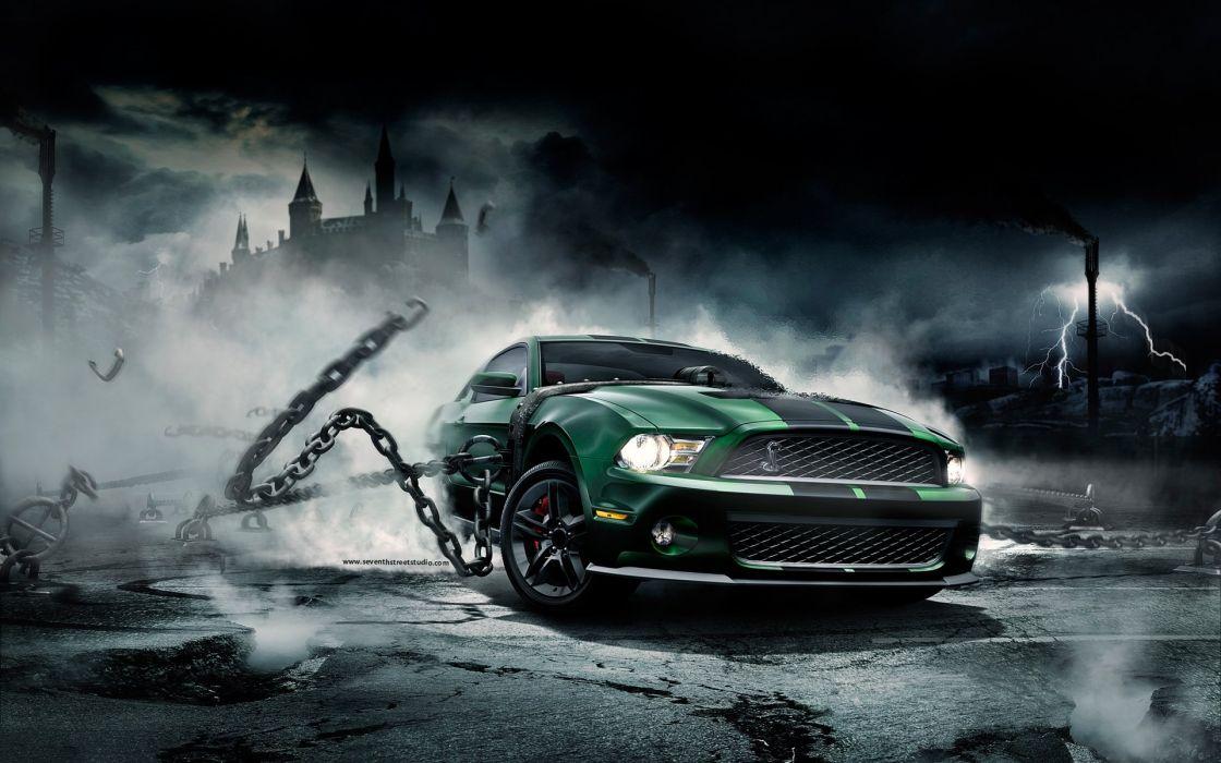STEEL CHAIN - car night green wallpaper