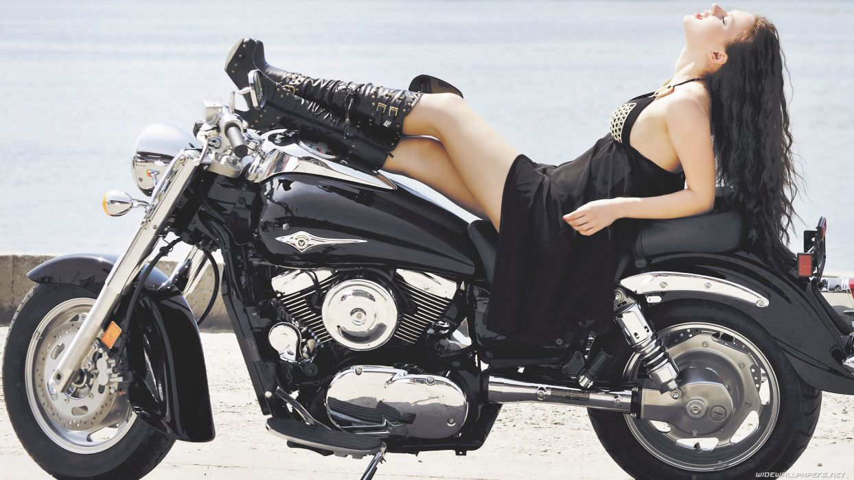MOTORCYCLES - girl women boot black jeans brunette wallpaper