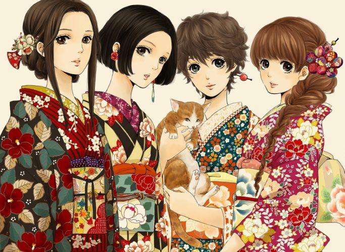 anime girls kimono beautifuls buckle hair wallpaper