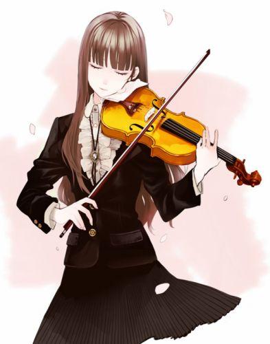 violin music long hair petal skirt girl amazing wallpaper