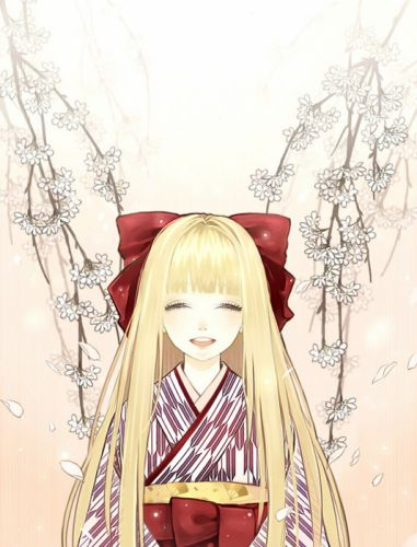 flower blonde anime girl sakura kimono smile wallpaper