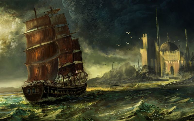 ship Ocean bird Castle drawing game wallpaper
