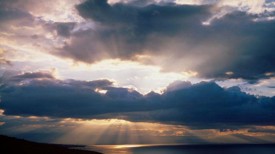 sky nature blue clouds sun sunset orange sunrise wallpaper